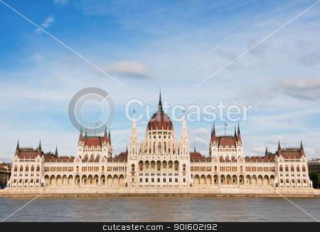 Parliament in Budapest stock photo, Hungarian parliament with clouds and river by Iryna Rasko