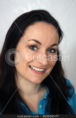 Beautiful, Friendly Brunette, Headshot (2) stock photo, A close-up of a lovely brunette with a warm, friendly smile. by Carl Stewart