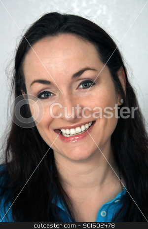 Beautiful, Friendly Brunette, Headshot (3) stock photo, A close-up of a lovely brunette with a warm, friendly smile. by Carl Stewart