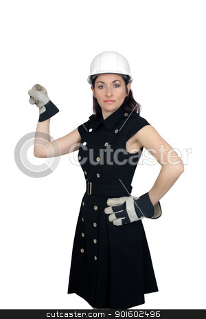 Beautiful Female Construction Worker (4) stock photo, A lovely brunette wearing a white hardhat, work gloves, and a snappy dress, isolated on a white background with generous copyspace. by Carl Stewart