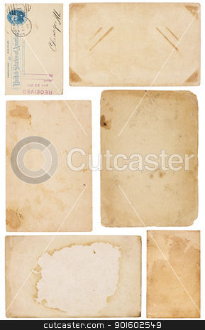 Variety of Vintage Paper Scraps stock photo, Collection of six aged, worn and stained paper scraps isolated on white. Most with room for text or images. by Mark Carrel