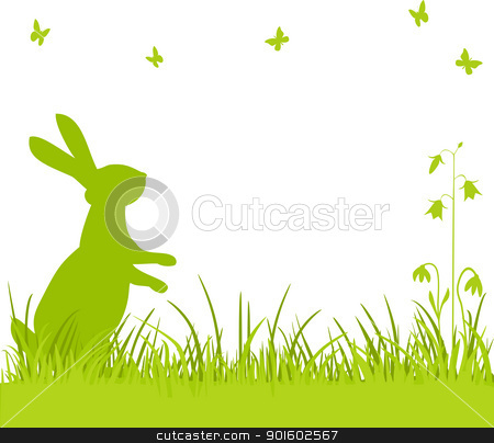 Easter bunny in the meadow stock vector clipart, Easter background, bunny or rabbit sitting in the meadow with flowers and butterflies, vector illustration by Ela Kwasniewski