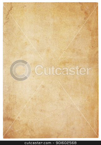 Very Old, Water-Stained Blank Paper stock photo, Aging, worn paper with water stains and  rough edges. Blank with room for text or images. Isolated on White. Includes clipping path. by Mark Carrel
