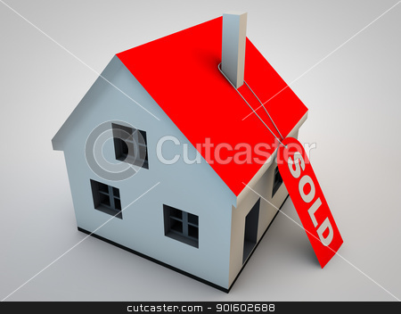 sold stock photo, Little house with a hang tag sold by novelo