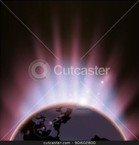 Eclipse globe concept background stock vector clipart, An illustration of the earth eclipsing the sun as it rises over it  by Christos Georghiou