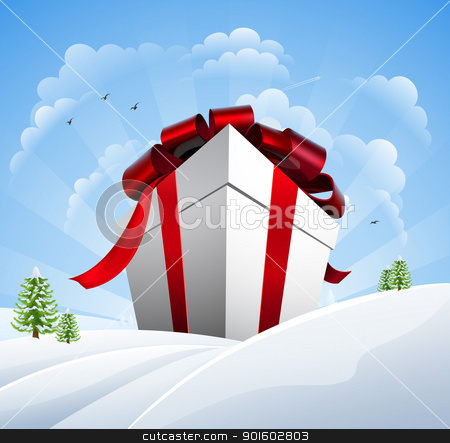 Huge Christmas Present in Snow stock vector clipart, A giant Christmas present in the snow. Concept for a huge Christmas sale. by Christos Georghiou