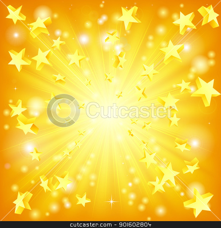 Exploding stars background stock vector clipart, Orange and yellow background with 3d stars flying out. by Christos Georghiou