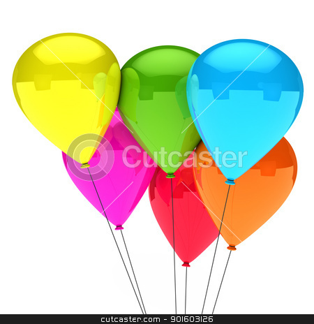 colorful balloon stock photo, colorful balloon with black cord white background by d3images