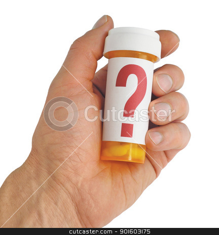 Questions About Medicine stock photo, Close up of a hand holding a yellow pill bottle with a large red question mark on the label. Isolated on white. Includes clipping path. by Mark Carrel