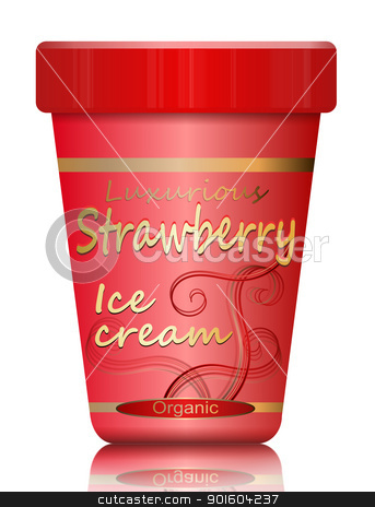 Strawberry Ice cream. stock photo, Illustration depicting a single strawberry ice cream container arranged over white. by Samantha Craddock