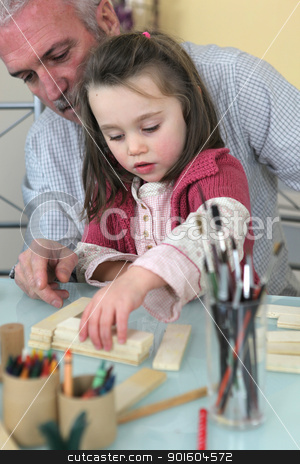 grandfather playing with his granddaughter stock photo, grandfather playing with his granddaughter by photography33