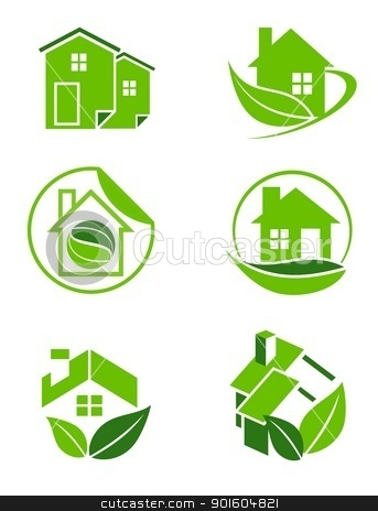 Green home icons stock photo, An illustration of six environmental friendly green home icons  by Sreedhar Yedlapati
