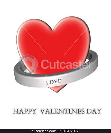 Happy Valentines day stock photo, 3d heart and shiny metal ring around it by Sreedhar Yedlapati