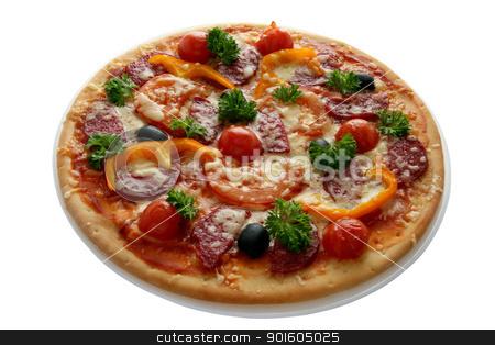 pizza with salami stock photo, pizza with salamipizza by nataliamylova