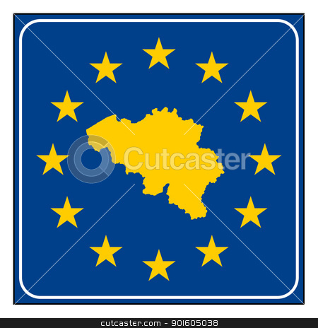 Belgium European button stock photo, Belgium map on blue and starry European button isolated on white background with copy space.  by Martin Crowdy