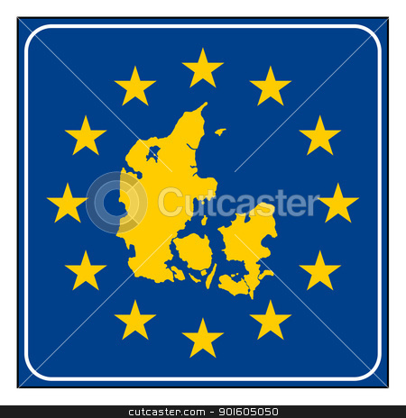Denmark European button stock photo, Denmark map on blue and starry European button isolated on white background with copy space.  by Martin Crowdy