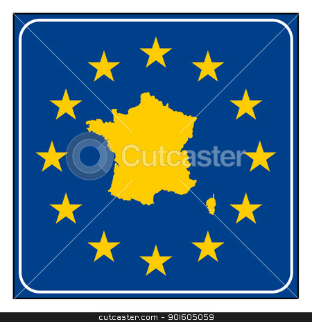 France European button stock photo, France map on blue and starry European button isolated on white background with copy space.  by Martin Crowdy