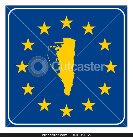 Gibraltar European button stock photo, Gibraltar map on blue and starry European button isolated on white background with copy space.  by Martin Crowdy