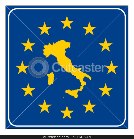 Italy European button stock photo, Italy map on blue and starry European button isolated on white background with copy space.  by Martin Crowdy