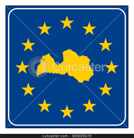 Latvia European button stock photo, Latvia map on blue and starry European button isolated on white background with copy space.  by Martin Crowdy