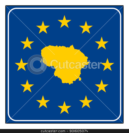 Lithuania European button stock photo, Lithuania map on blue and starry European button isolated on white background with copy space.  by Martin Crowdy