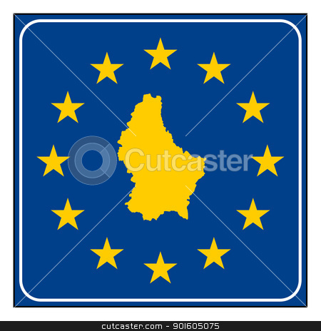 Luxembourg European button stock photo, Luxembourg map on blue and starry European button isolated on white background with copy space.  by Martin Crowdy