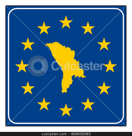 Moldova European button stock photo, Moldova map on blue and starry European button isolated on white background with copy space.  by Martin Crowdy