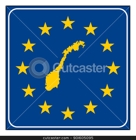 Norway European button stock photo, Norway map on blue and starry European button isolated on white background with copy space.  by Martin Crowdy