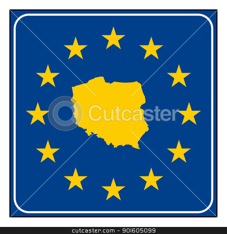 Poland road sign stock photo, Poland European button isolated on white background with copy space.  by Martin Crowdy