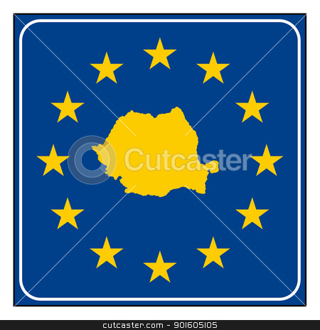 Romania road sign stock photo, Romania European button isolated on white background with copy space.  by Martin Crowdy