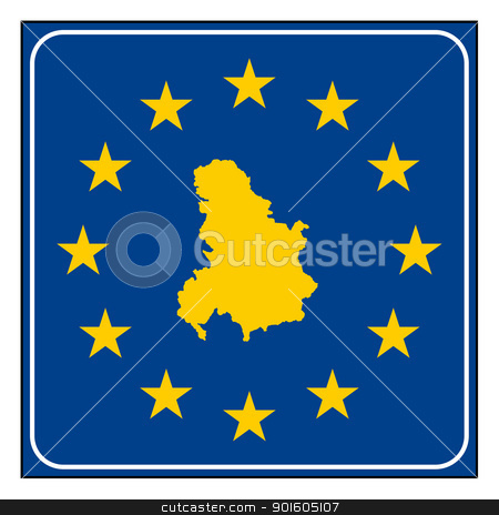 Serbia and Montenegro road sign stock photo, Serbia and Montenegro European button isolated on white background with copy space.  by Martin Crowdy