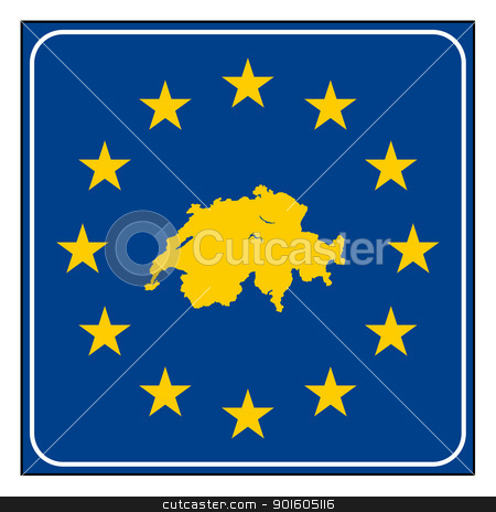 Switzerland road sign stock photo, Switzerland European button isolated on white background with copy space.  by Martin Crowdy