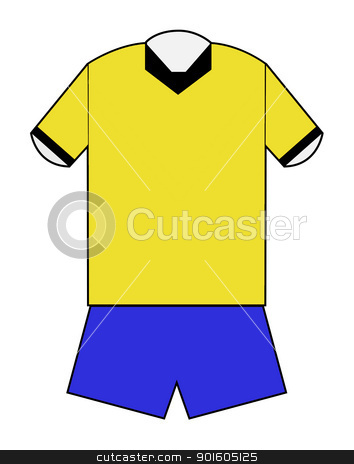 Yellow and blue football kit stock photo, Yellow and blue football kit with clipping path on white background. by Martin Crowdy