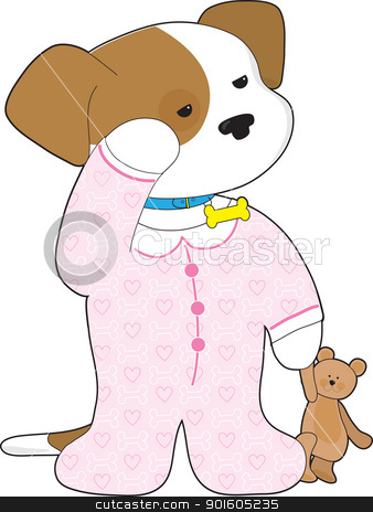 Cute Puppy Pajamas stock vector clipart, A cute, sleepy puppy still wearing its collar, is ready for bedtime dressed in pajamas and with a teddy bear in hand. by Maria Bell