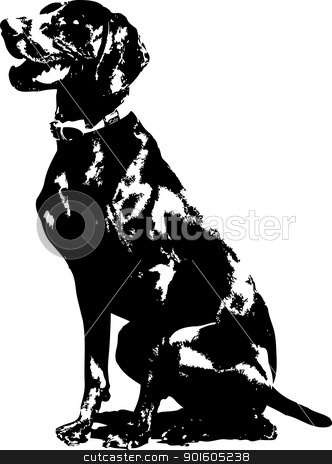 German Pointer Silhouette stock vector clipart, A silhouette of a sitting German short haired Pointer. by Maria Bell