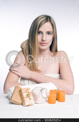 Natural blond spa beauty. stock photo, Tranquil portrait of a natural blond spa beauty. by exvivo