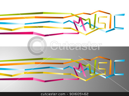 Music origami ribbon background stock vector clipart, Love for music origami multicolored ribbon illustration. Vector file available. by Cienpies Design