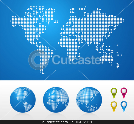 Dotted World maps and globes stock vector clipart, Dot World maps and globes business background. Vector file available. by Cienpies Design