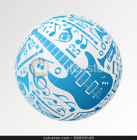 Music instruments in bauble shape stock vector clipart, Love for music concept illustration. Music instruments set in sphere ball shape background. Vector file available. by Cienpies Design