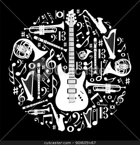 Black and white love for music concept illustration background stock vector clipart, High contrast music instruments silhouette in circle shape. Vector file available. by Cienpies Design