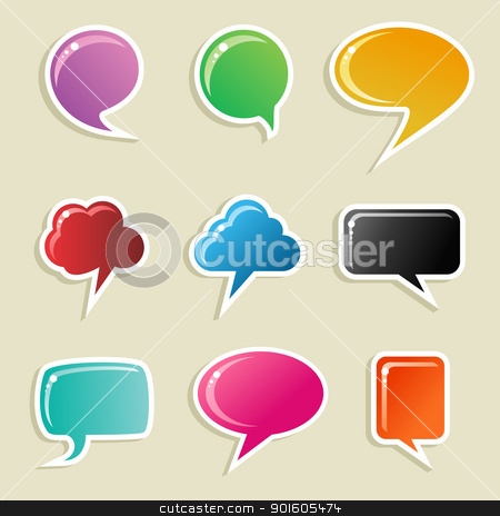 Social media bubbles set stock vector clipart, Social speech bubbles in different colors and forms illustration set. Vector file available. by Cienpies Design