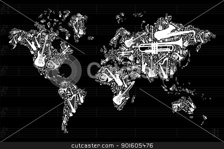 Music World Map stock vector clipart, Globe World map silhouette made with musical instruments icon set in black background. Vector file available   by Cienpies Design