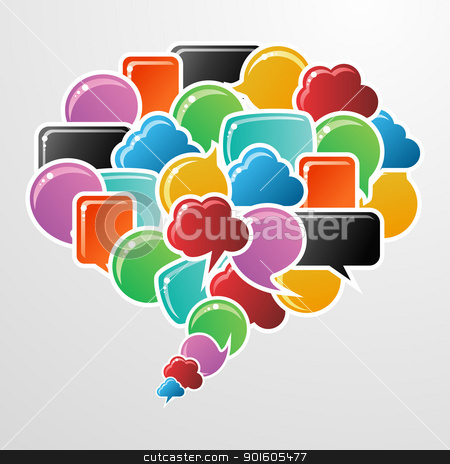 Social media bubbles in communication speech stock vector clipart, Social speech bubbles in different colors and shapes in communication speech illustration. Vector file available. by Cienpies Design