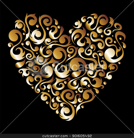Golden Valentines floral love heart stock vector clipart, Golden love heart with floral design silhouette background. Vector file available. by Cienpies Design