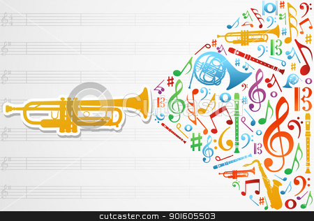Love for music concept illustration background stock vector clipart, Multicolored music instruments silhouette and elements over pentagram composition background. Vector file available. by Cienpies Design