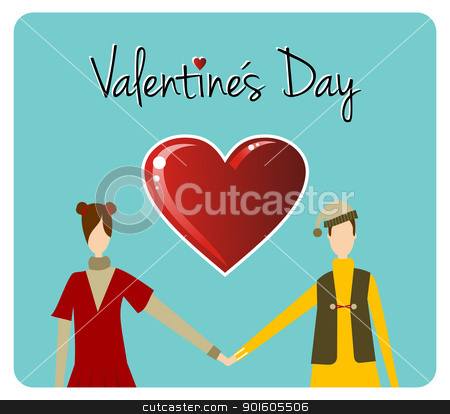 Happy Valentines day greeting card stock vector clipart, Happy valentines day greeting card background: young couple taked hands with heart likes shape. Vector file available. by Cienpies Design