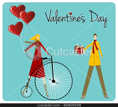 Couple with retro bike Valentines day greeting card stock vector clipart, Valentines day greeting card background: Couple with vintage bike and heart shape balloons. Vector file available. by Cienpies Design