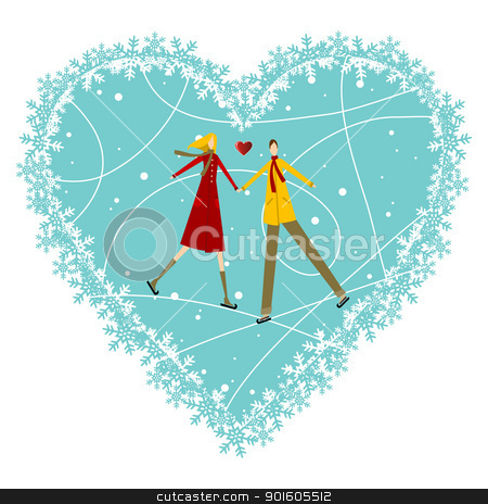 Happy Couple Valentines day greeting card stock vector clipart, Happy valentines day greeting card background: young couple in winte clothes taked hands with heart likes shape behind. Vector file available. by Cienpies Design