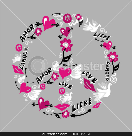 Peace And Love Symbol Stock Vector