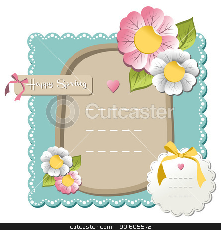 Happy spring sale tag collection stock vector clipart, New happy spring label set with season flowers background. Vector file available. by Cienpies Design